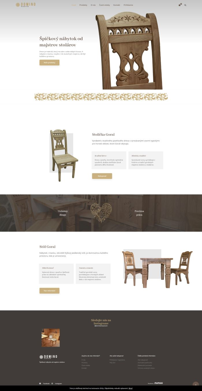 Tvorba E-shopov Nábytok Domino Massivum